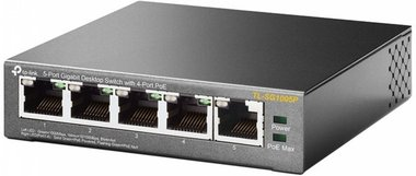 TP-LINK TL-SG1005P Unmanaged Gigabit Ethernet (10/100/1000) Zwart Power over Ethernet (PoE)