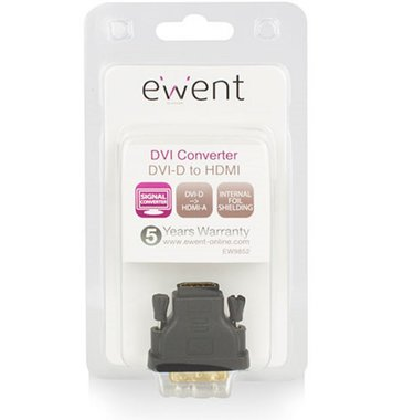 Ewent Adapter DVI-D male - HDMI A female / zwart